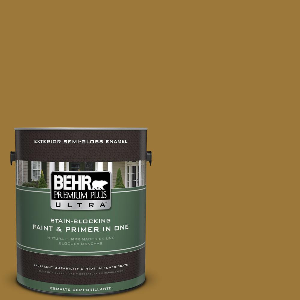 BEHR Premium Plus Ultra 1-gal. #M300-7 Persian Gold Semi-Gloss Enamel Exterior Paint