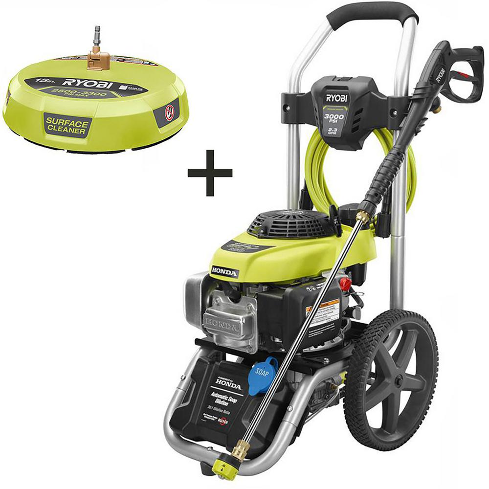 RYOBI 3000 PSI 2.3 GPM Honda Gas Pressure Washer and 15 in. Surface Cleaner