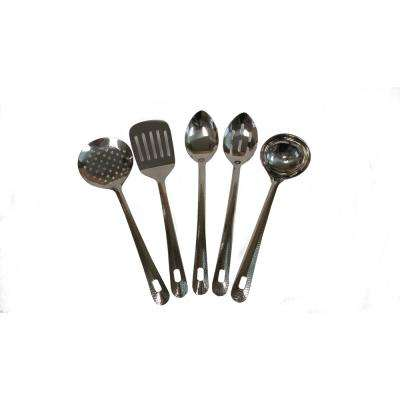 Utensils Set of 5 with Hammered Handle