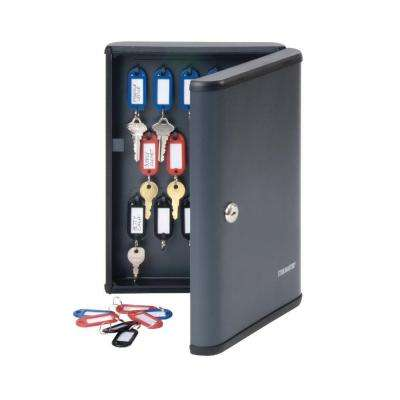 Security Key Cabinet Safe with high-impact plastic end caps for 30 keys, Charcoal Gray