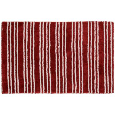 Baha Mar Chili Red/White 24 in. x 40 in. Striped Nylon Polyester Bath Mat