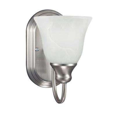 Windgate 1-Light Brushed Nickel Wall/Bath Sconce with White Alabaster Glass