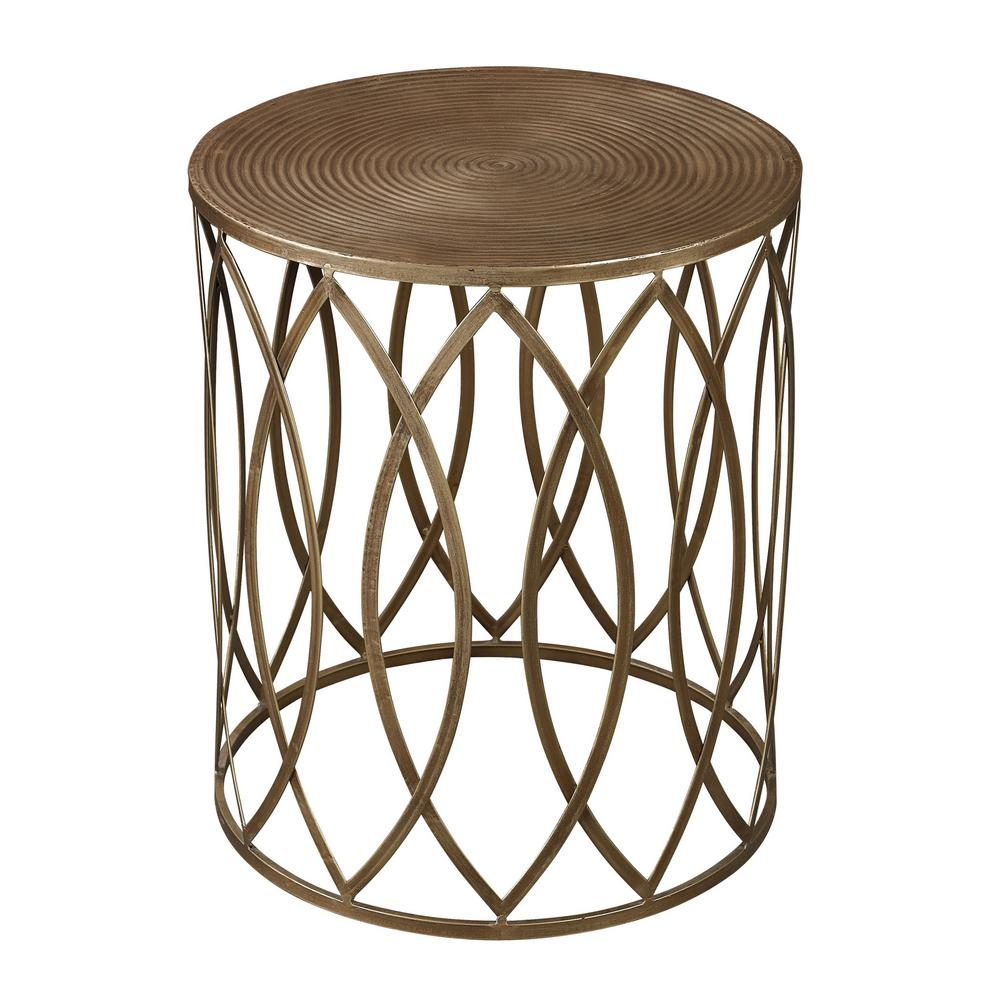 An Lighting Sutton Gold And Antique Champagne End Table