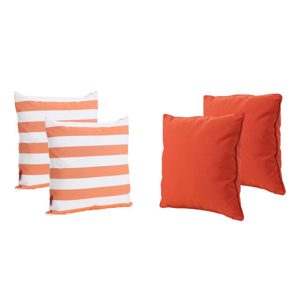 Coronado Orange Stripe Outdoor Throw Pillow (4-Pack)