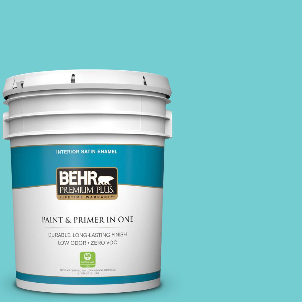 5-gal. #P460-3 Soft Turquoise Satin Enamel Interior Paint