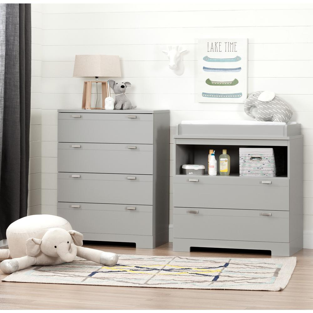 South Shore Reevo Changing Table And 4 Drawer Soft Gray Chest Set