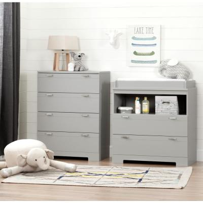 Reevo Changing Table and 4-Drawer Soft Gray Chest Set