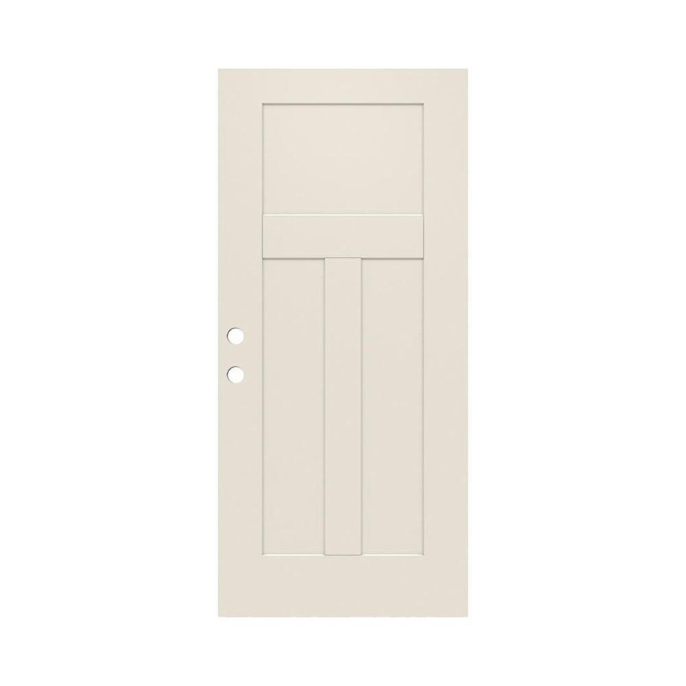 34 in. x 79 in. 3-Panel Craftsman Primed Steel Front Door Slab