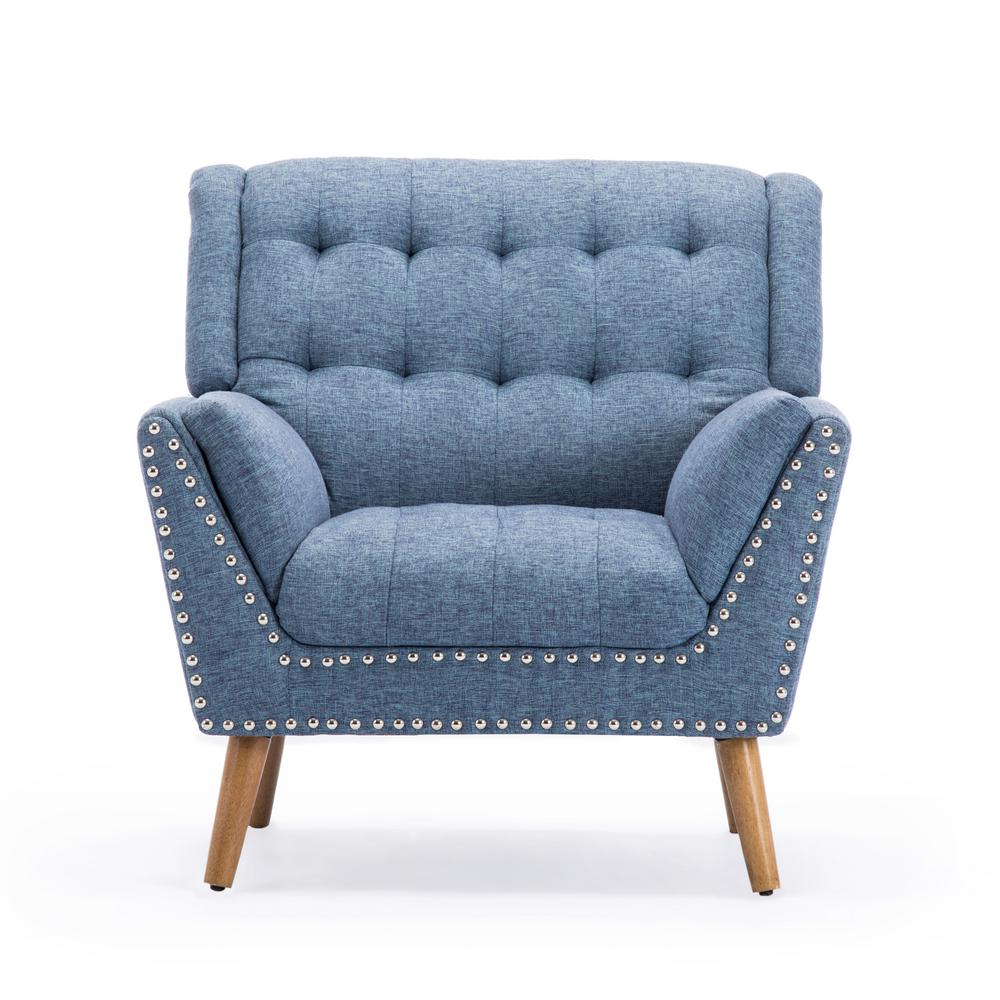 Noble House Delia Contemporary Tufted Navy Blue Tweed Fabric Club Chair with Nail Head Accents