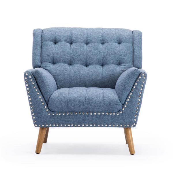 Noble House Delia Contemporary Tufted Navy Blue Tweed Fabric Club Chair