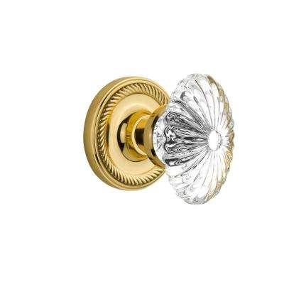 Rope Rosette Single Dummy Oval Fluted Crystal Glass Door Knob in Unlacquered Brass
