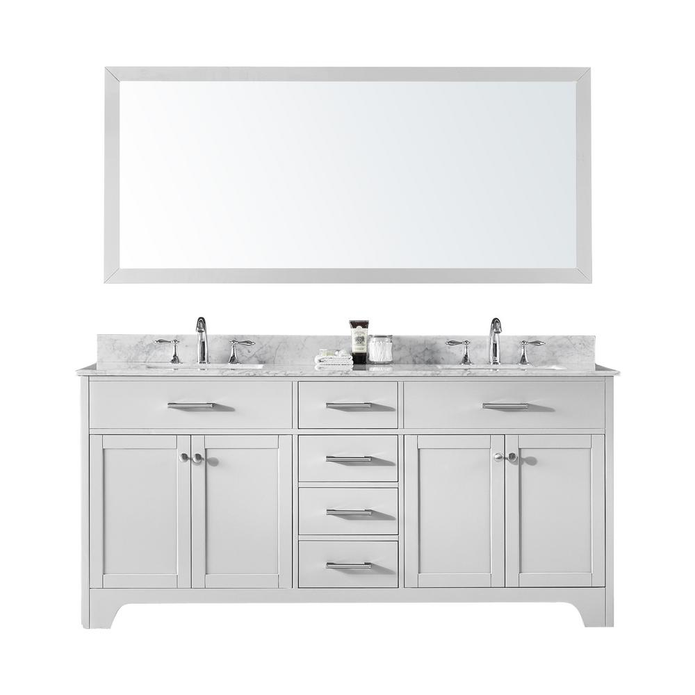 72 in. Double Sink Bathroom Vanity in White with Carrara White