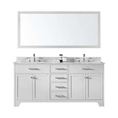 72 in. Double Sink Bathroom Vanity in White with Carrara White Marble Top and Mirror Set