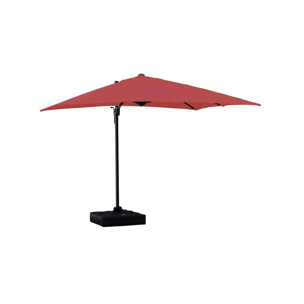 Isola 10 ft. Cantilever Square Parasol Patio Umbrella in Sunbrella Fabric Canvas Henna