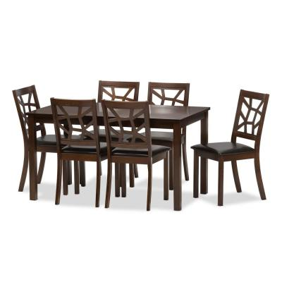 Mozaika 7-Piece Dark Brown Faux Leather Upholstered Dining Set