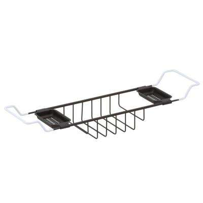 26-3/4 in. - 34-3/4 in. Adjustable Length Leg Tub Shelf in Oil Rubbed Bronze