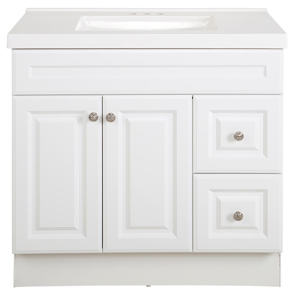 Glacier Bay Glensford 37 in  W x 22 in  D Bathroom Vanity in White with  Cultured Marble Vanity Top in White with White Sink