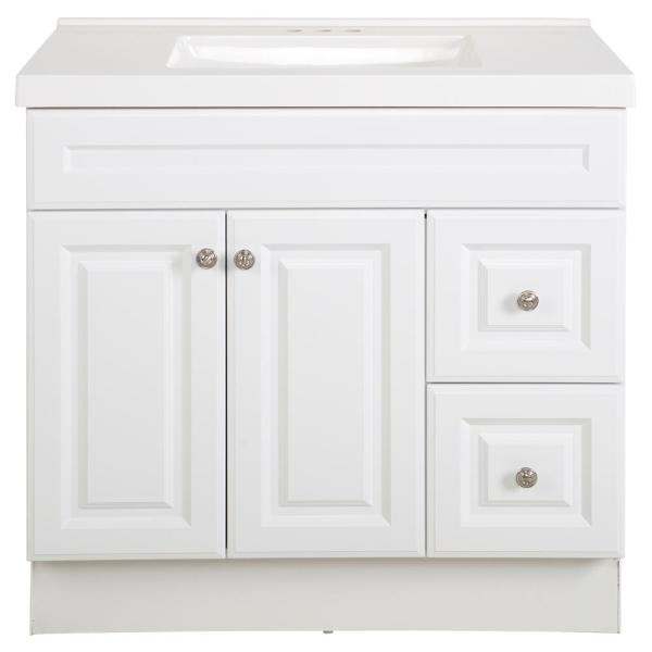 Glensford 37 in. W x 22 in. D Bathroom Vanity in White with Cultured Marble Vanity Top in White with White Sink