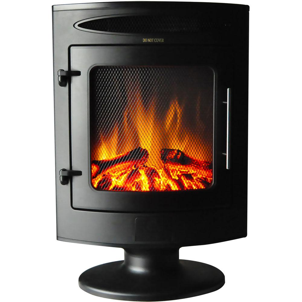 20 in. Freestanding Electric Fireplace 1500-Watt with Log Display in Black
