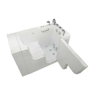 Wheelchair Transfer 52 in. Acrylic Walk-In Whirlpool and MicroBubble Bathtub in White,Faucet, Heated Seat, RH Dual Drain