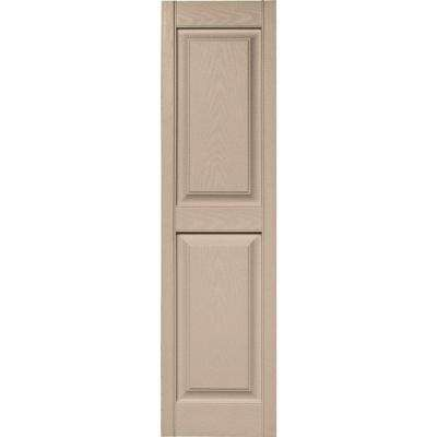15 in. x 55 in. Raised Panel Vinyl Exterior Shutters Pair in #023 Wicker