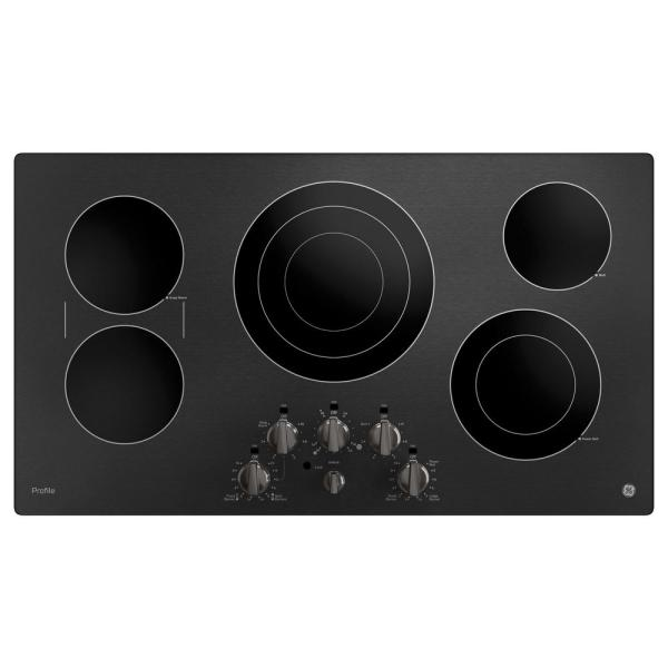 Profile 36 in. Radiant Electric Cooktop in Black Stainless Steel with 5-Elements Including Power Boil-Element