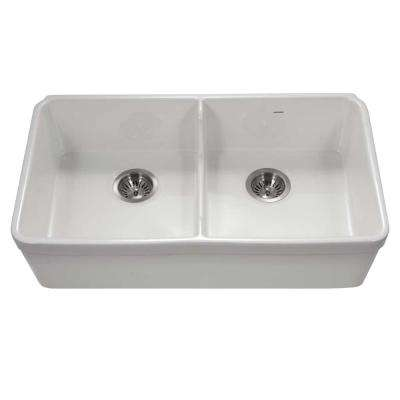 Platus Undermount Fireclay 32 in. 50/50 Double Bowl Kitchen Sink in White with Low Divide