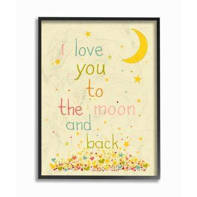 "11 in. x 14 in. ""I Love You To The Moon And Back"" by Karen Zukowski (Finny And Zook) Wood Framed Wall Art"