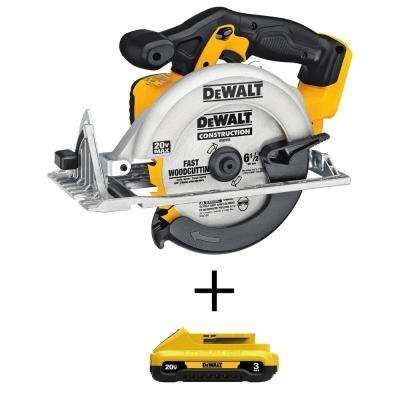 20-Volt MAX Lithium-Ion Cordless 6-1/2 in. Circular Saw with Bonus Compact Battery Pack 3.0 Ah