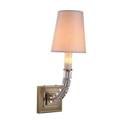 Cristal 1 Light Burnished Brass Wall Sconce With Clear Crystal Elegant Lighting