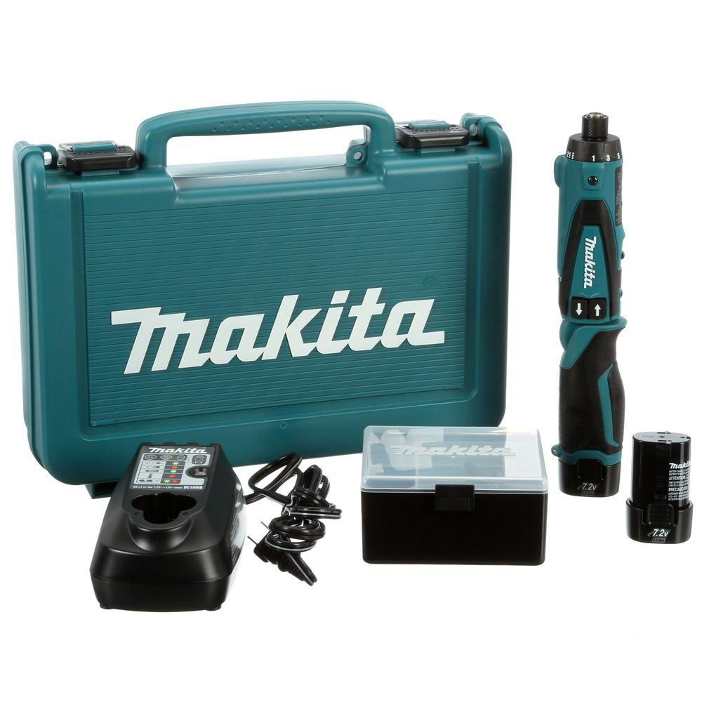 76ac05ee1f8 Makita 7.2-Volt Lithium-Ion 1 4 in. Cordless Hex Driver-Drill Kit ...
