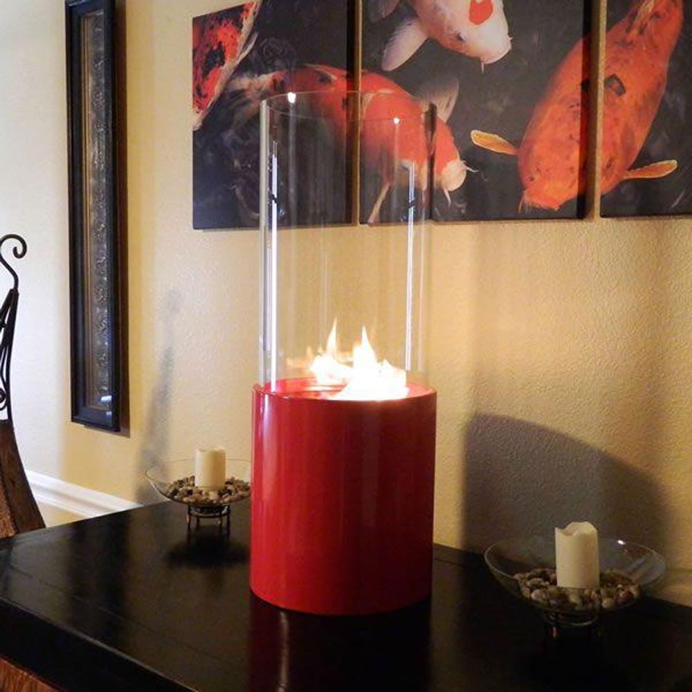 10 in. Dia Tabletop Doopio Rouge Ethanol Fireplace in Red