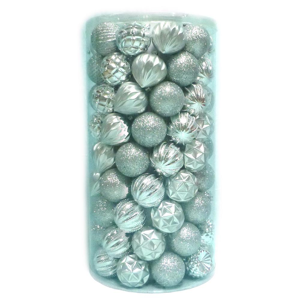 Home Accents Holiday 60 mm 101-Piece Shatterproof Silver Ornament Tube