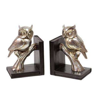 9.25 in. H Owl Decorative Sculpture in Gold Coated Finish (Set of 2)