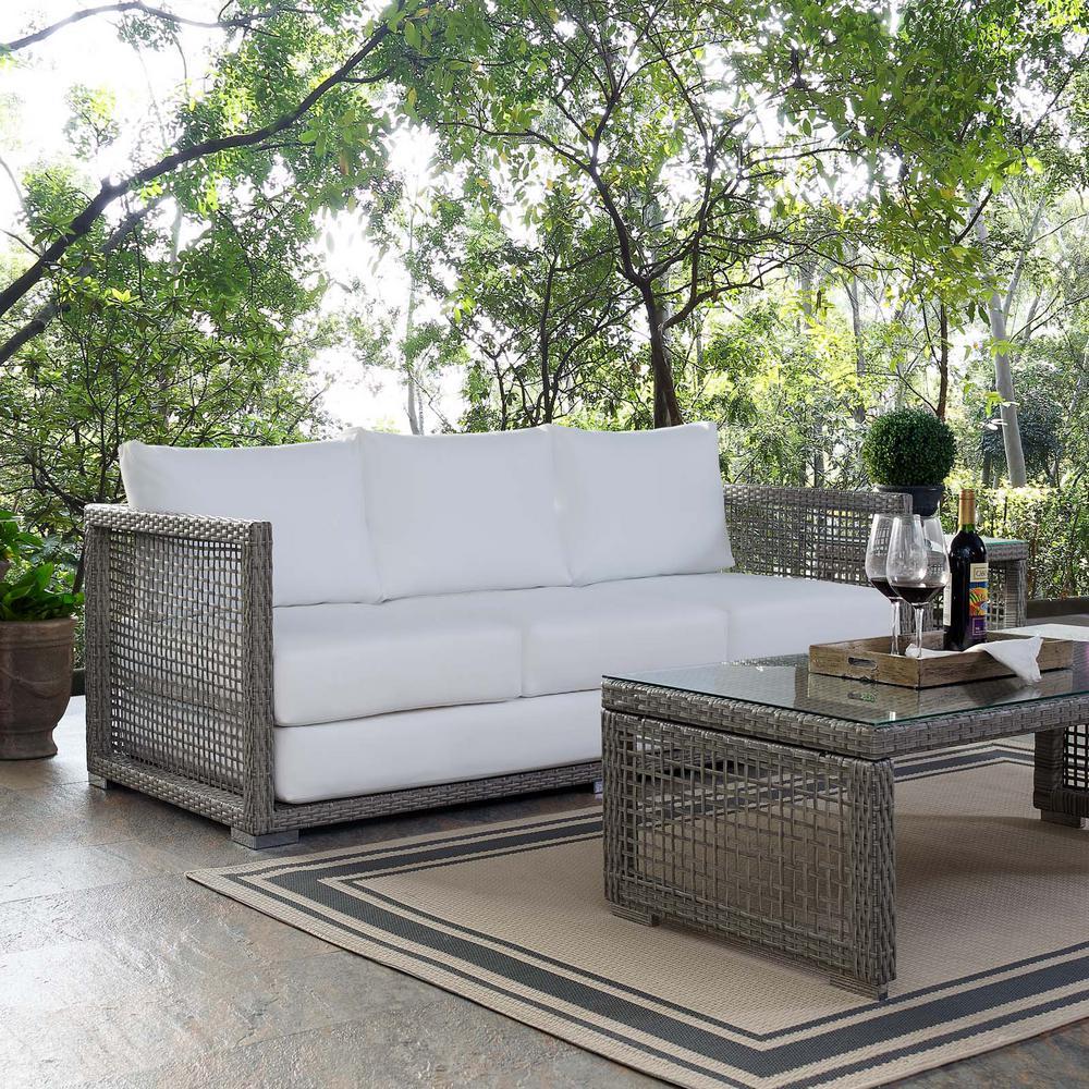 Aura Gray Wicker Outdoor Sofa with White Cushions