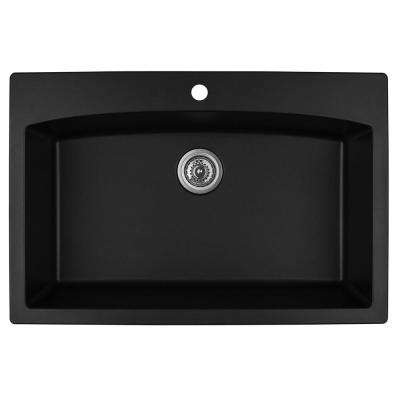Drop-In Quartz Composite 33 in. 1-Hole Single Bowl Kitchen Sink in Black