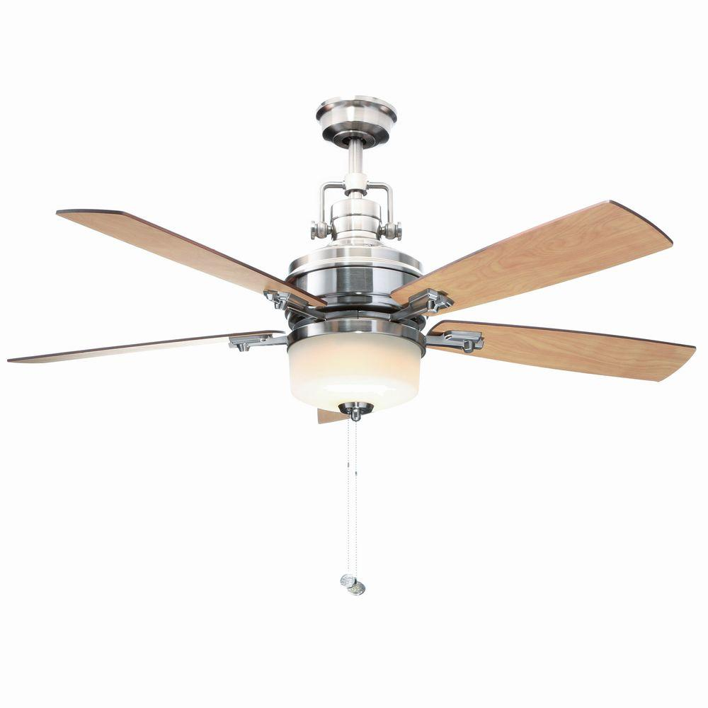 Indoor Brushed Nickel Ceiling Fan With Light