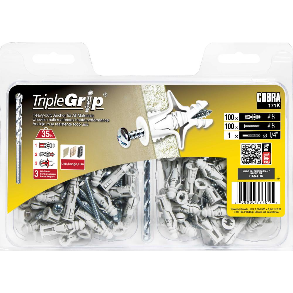 "# 8 Box of 100 Plastic Triple Grip Anchors 1//4/"" Hole"