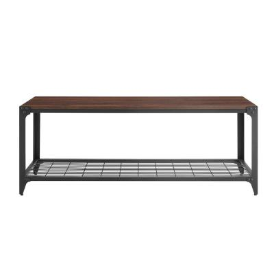 48 in. Dark Walnut Industrial Angle Iron Entry Bench