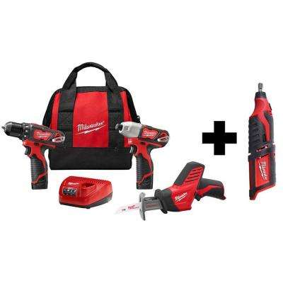 M12 12-Volt Lithium-Ion Cordless Combo Tool Kit (3-Tool) with Two 1.5 Ah Batteries and Free M12 Rotary Tool