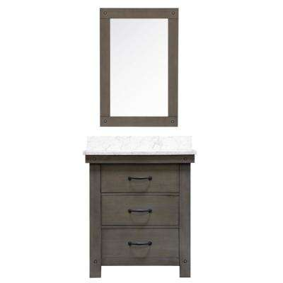 Aberdeen 30 In W X 34 H Vanity Gray With Marble