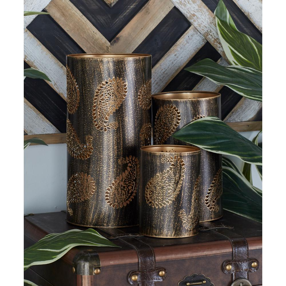 Brown Paisley Candle Holders (Set of 3)