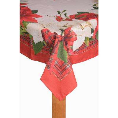 Poinsettia Tartan 70 in. Round 80% Cotton 20% Polyester Tablecloth