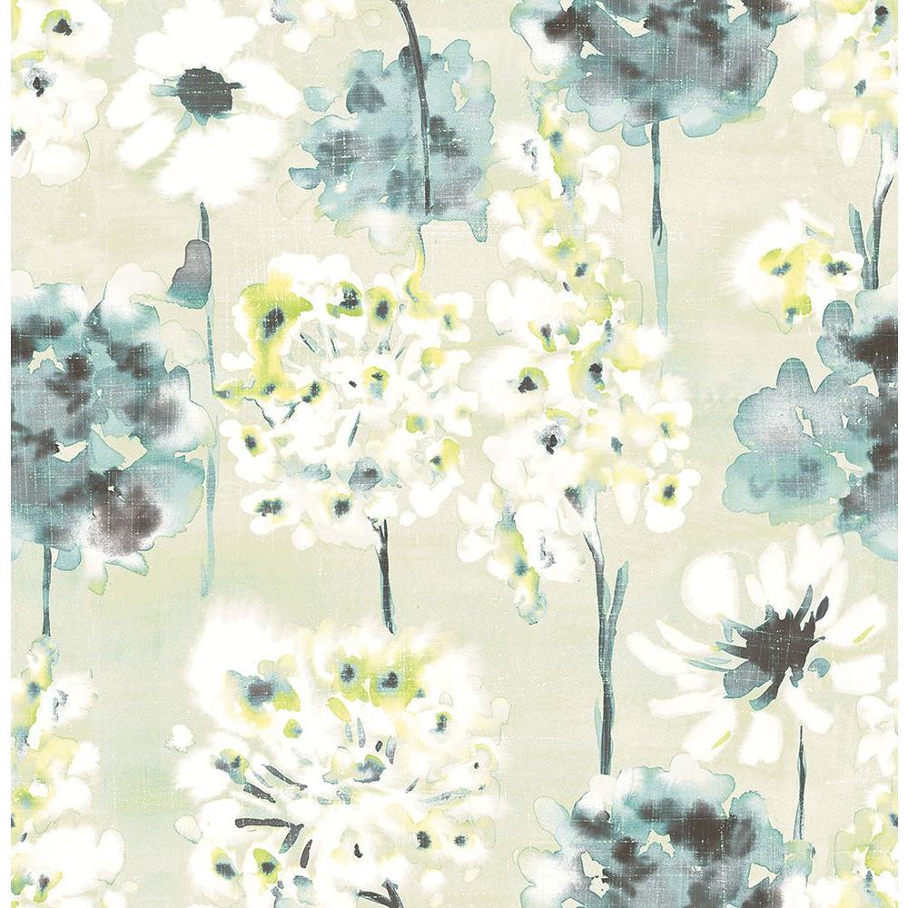A Street Marilla Aquamarine Watercolor Floral Wallpaper 2656