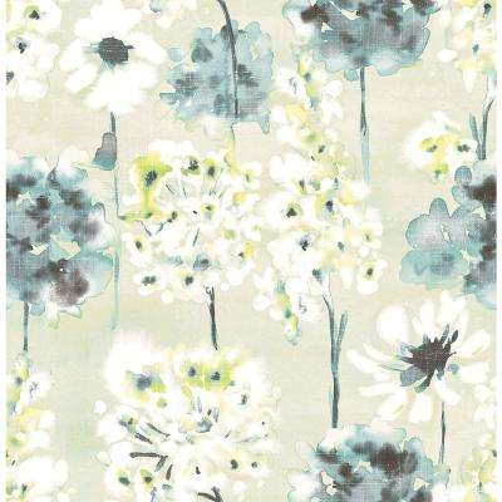 Marilla Aquamarine Watercolor Floral Wallpaper