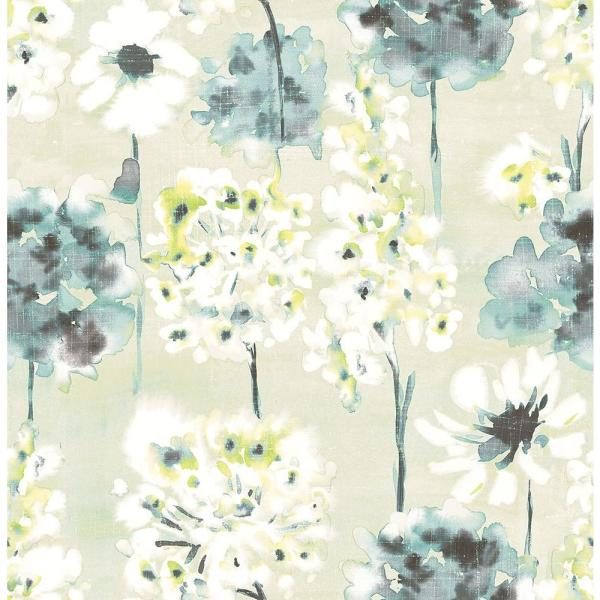 A-Street Marilla Aquamarine Watercolor Floral Wallpaper Sample 2656-004018SAM