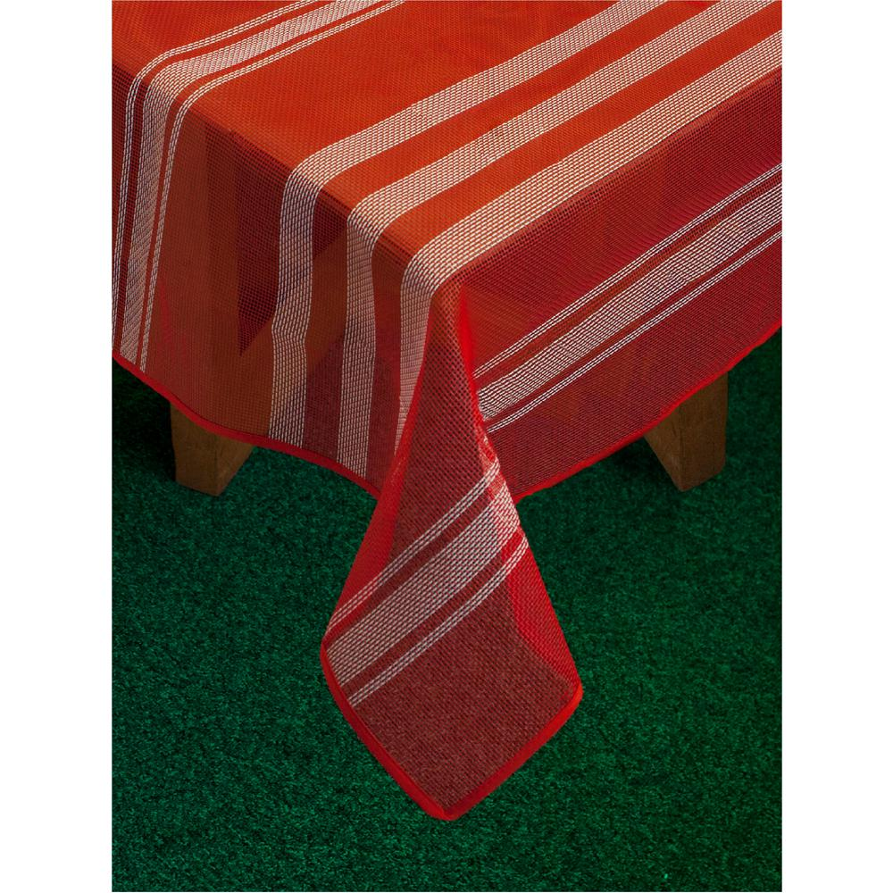 Bistro Stripe 60 in. x 84 in. Red Vinyl and Poly