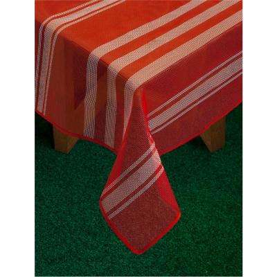 Bistro Stripe 60 in. x 84 in. Red Vinyl and Poly Tablecloth