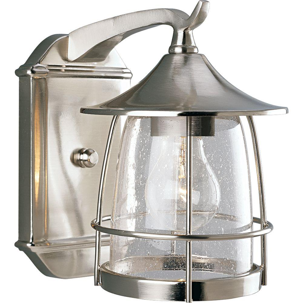 Progress Lighting Prairie Collection 1 Light 9 In Outdoor Brushed Nickel Wall Lantern Sconce