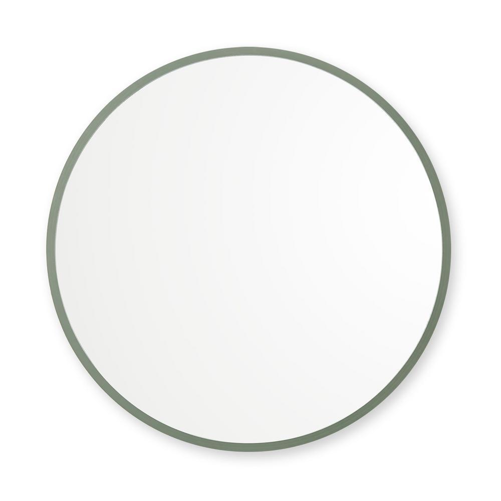 18 in. W x 18 in. H Rubber Framed Round Bathroom Vanity Mirror in Sage Green